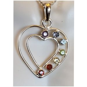 Double Heart Healing Chakra Pendant/Necklace